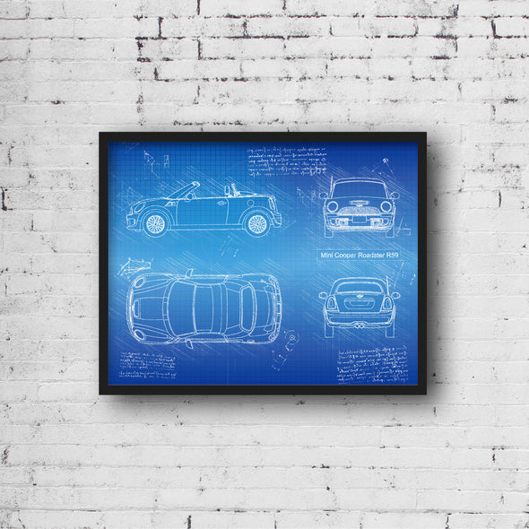 Mini Cooper Roadster R59 (2011-15) da Vinci Sketch Art Print (#746)