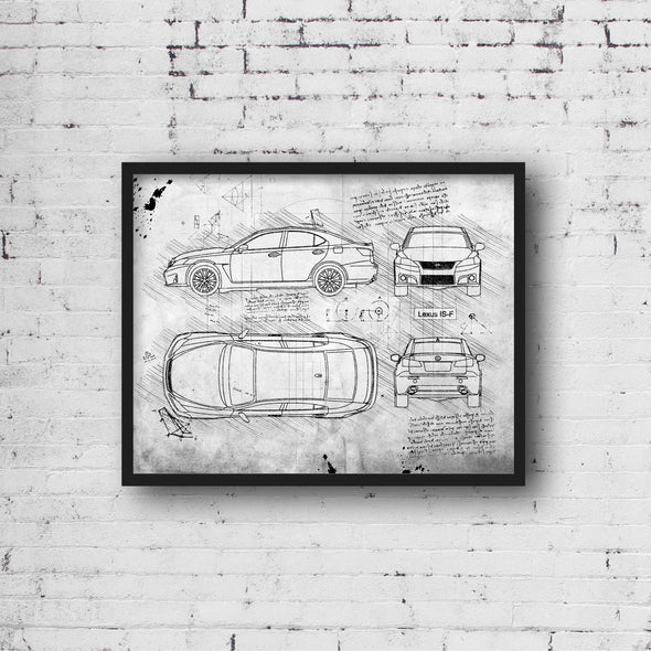 Lexus IS-F (2008-13) da Vinci Sketch Art Print (#467)