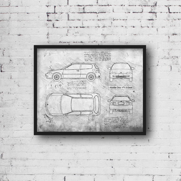 Honda Civic VTi 3-Door (1991-95) da Vinci Sketch Art Print (#768)