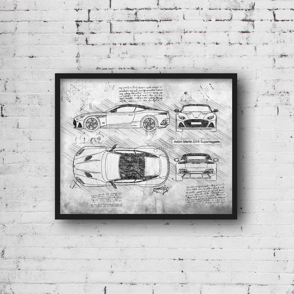 Aston Martin DBS Superleggera (2018) da Vinci Sketch Art Print (#687)