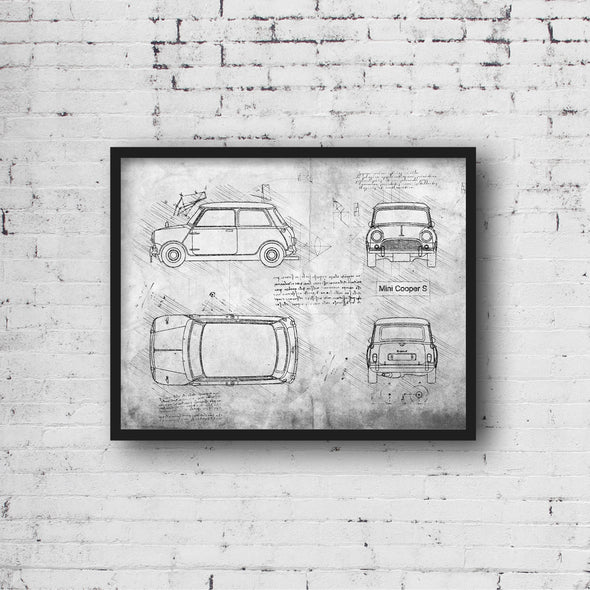Mini Cooper S (1961) da Vinci Sketch Art Print (#791)