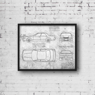 Nissan Skyline R32 4-door (1989-94) da Vinci Sketch Art Print (#703)