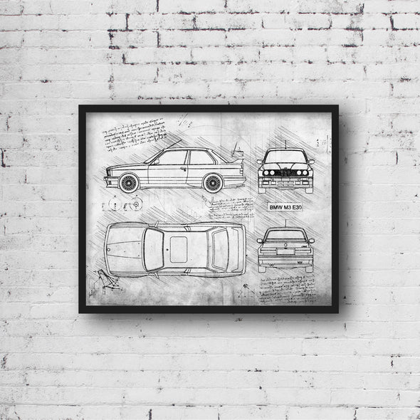 BMW M3 E30 (1986-92) da Vinci Sketch Art Print (#380)