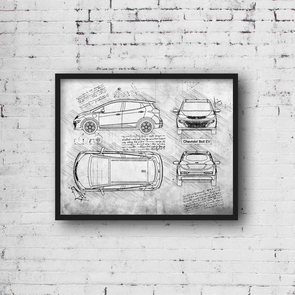 Chevrolet Bolt EV (2016-P) da Vinci Sketch Art Print (#679)