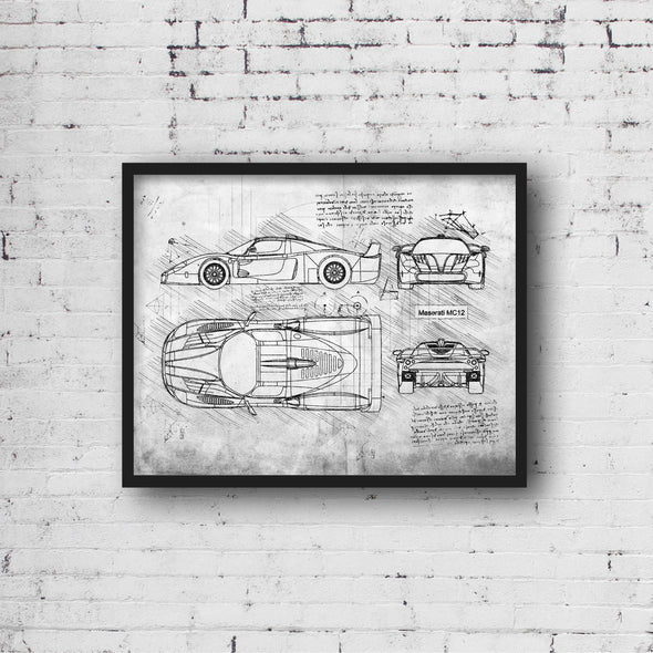 Maserati MC12 (2004-05) da Vinci Sketch Art Print (#566)
