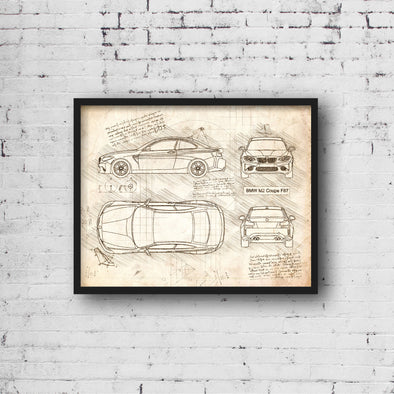 BMW M2 Coupe F87 2015 da Vinci Sketch Art Print (#397)