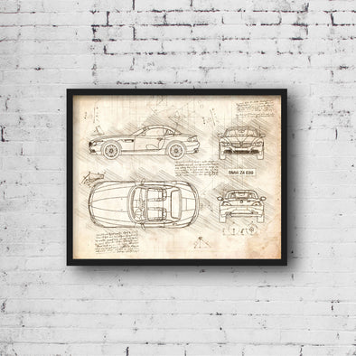 BMW Z4 E89 (2009-16) da Vinci Sketch Art Print (#403)