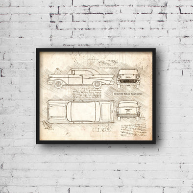 Chevrolet Bel Air Sport Sedan (1957) da Vinci Sketch Art Print (#672)