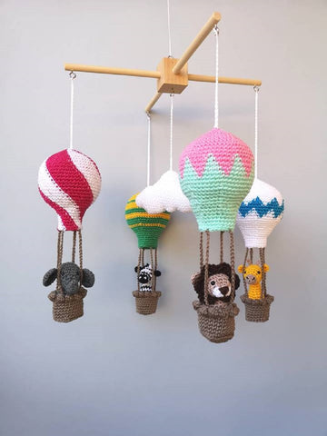 Baby mobile, hot air balloon baby mobile, crochet mobile, animal mobile, nursery mobile, crib mobile, safari mobile