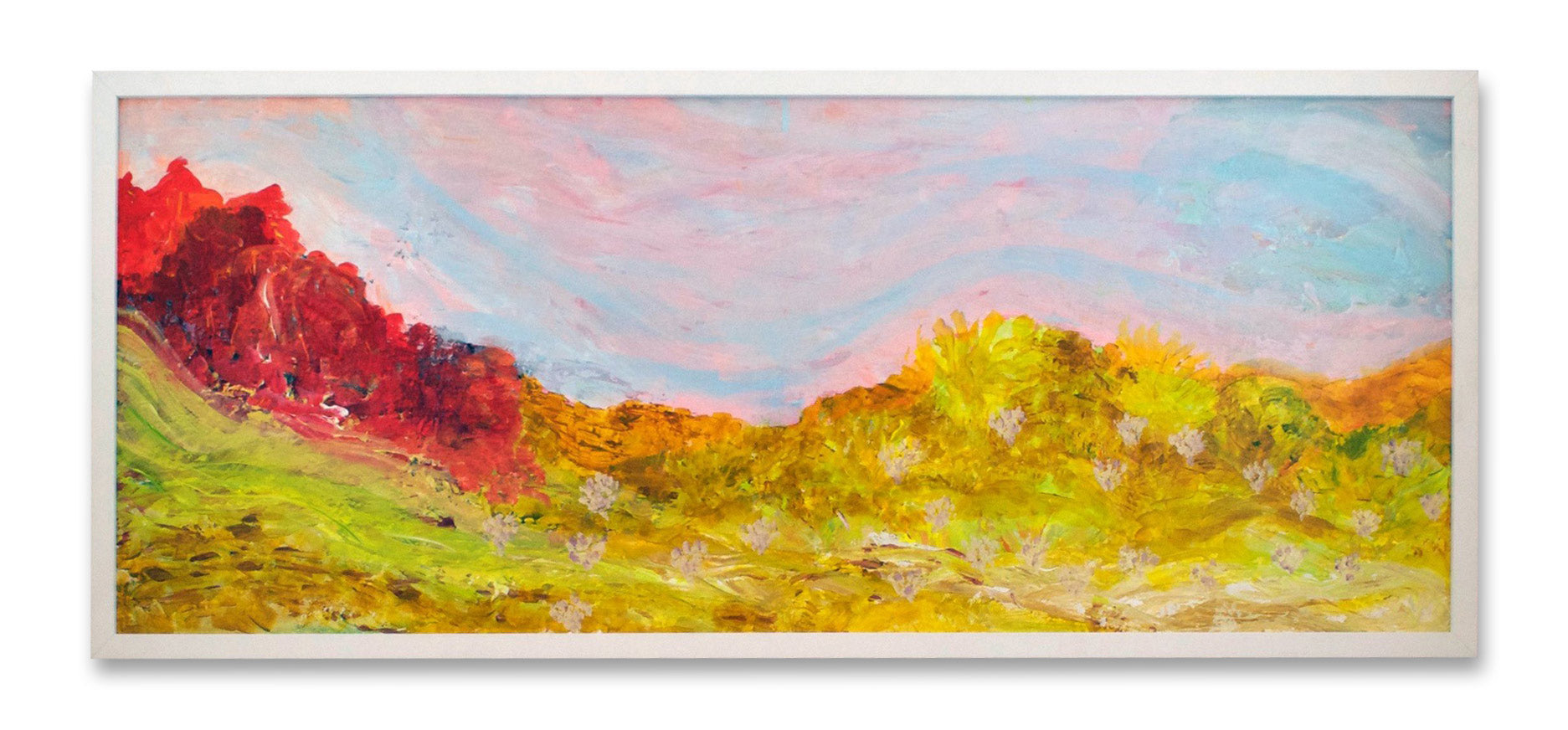 Acrylic landscape painting, framed, long desert view/oranges ochres yellows, framed