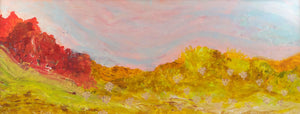 Acrylic landscape painting, framed, long desert view/oranges ochres yellows