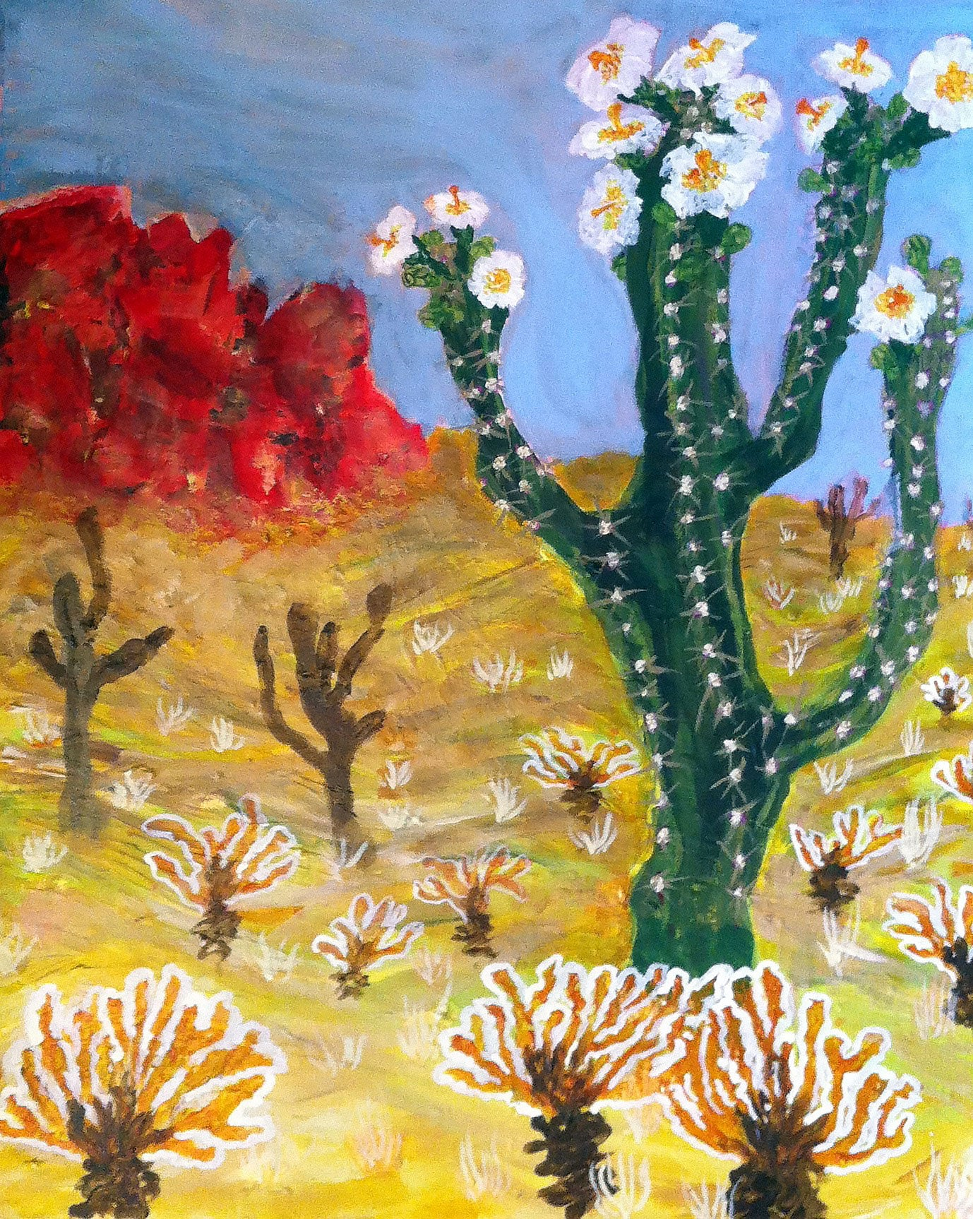 acrylic landscape painting on canvas, prickly sonora desert cactus