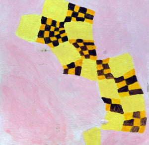 Acrylic abstract painting on canvas, yellow on pink with brown and orange checkers
