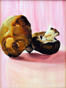 still life oil painting, 2 mushrooms pink background