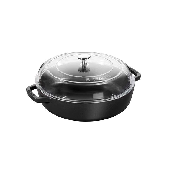 ZWILLING J.A. HENCKELS 40501-036 Staub Cast Iron Braiser with Glass Lid 4 qt./3.8 L, Medium, Black