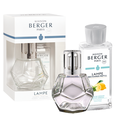 Maison Berger Geometry Clear Lamp Gift Set + Zest Of Verbena