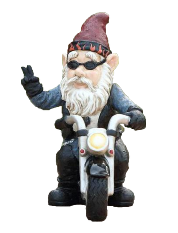 Gnome w/ Peace Sign Riding Motorcycle