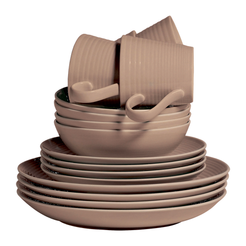 Maze Taupe 16 Piece Dinner Set