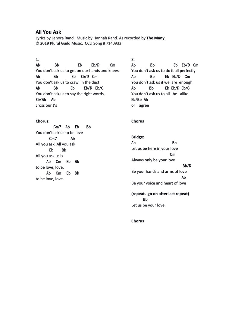 All You Ask - Sheet Music & Song Download