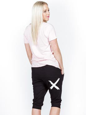 3/4 APARTMENT PANTS-BLACK w WHITE X PRINT