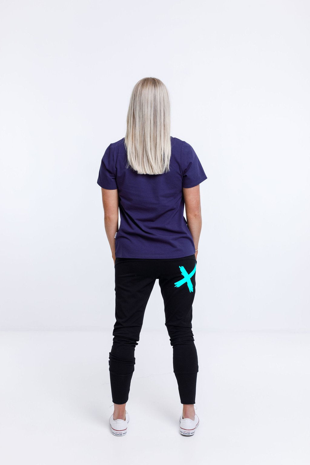 APARTMENT PANTS - BLACK w BRIGHT BLUE X