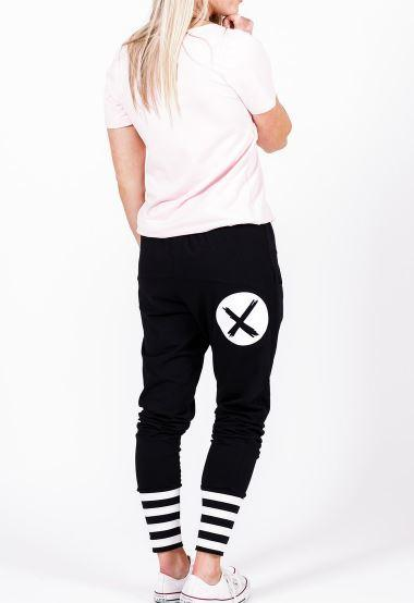 Apartment Pants-Blk W White X Spot Print & Stripe Cuffs Black / 8 Pant
