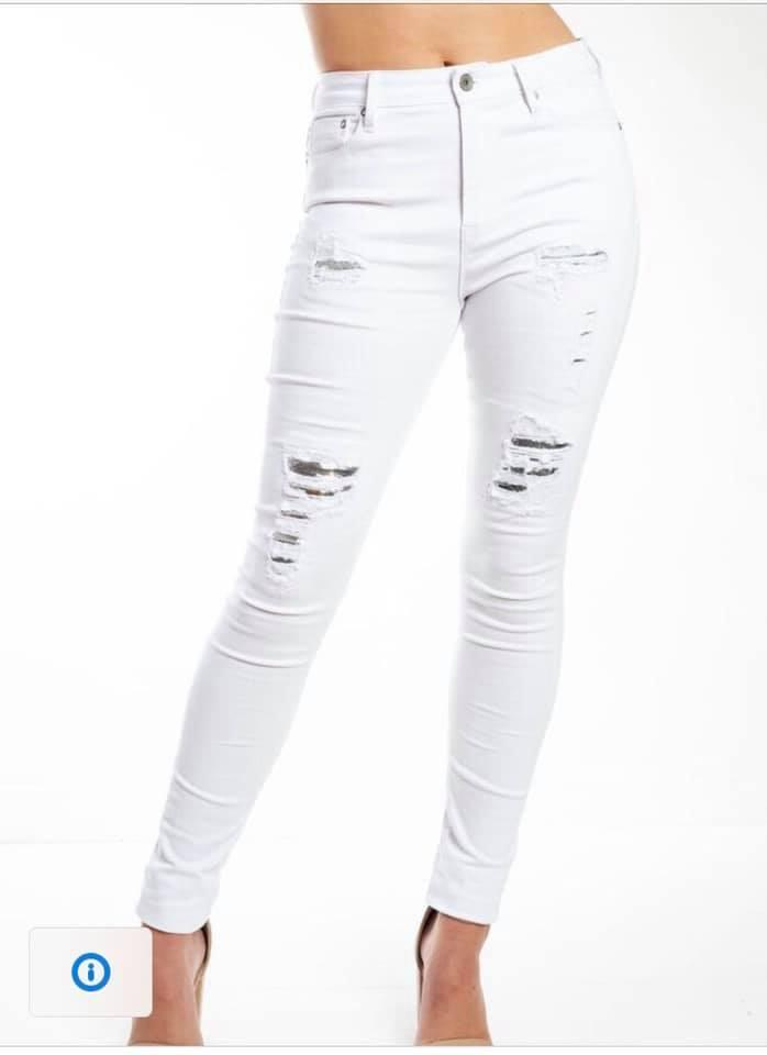 GYPSY HIGH RISE JEAN-SEQUIN WHITE