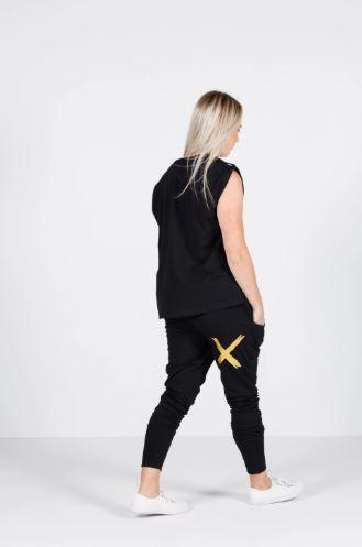 APARTMENT PANTS-BLACK w GOLD X