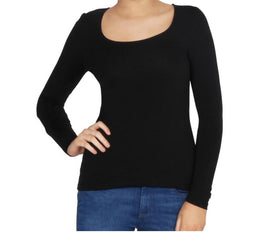 Madonna L/slv Scoop Top -Black