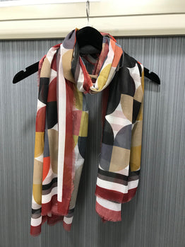 DIGITAL PRINT GEOMETRIC BORDERED SCARF