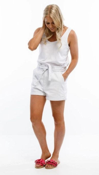PAPER BAG SHORTS -WHITE