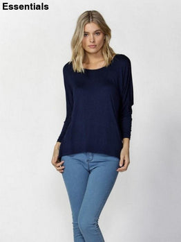 Milan 3/4 Slv Top -Navy
