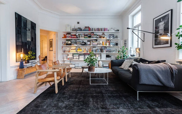 worn leather chairs in Scandinavian room