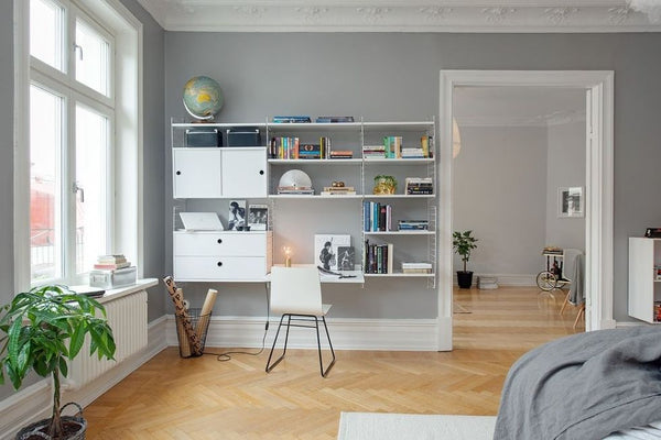 grey feature wall in study room