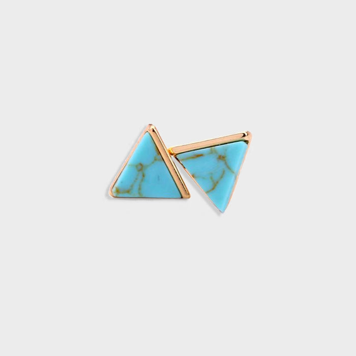Triangle Faux Marble Stud Earrings (White, Blue or Green)