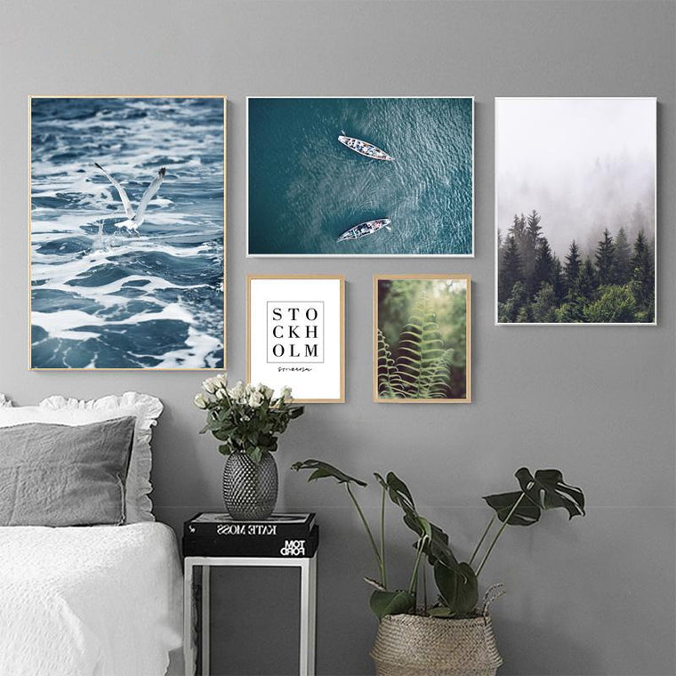 Nordic Scenes Lake/Forest/Ocean Canvas Prints