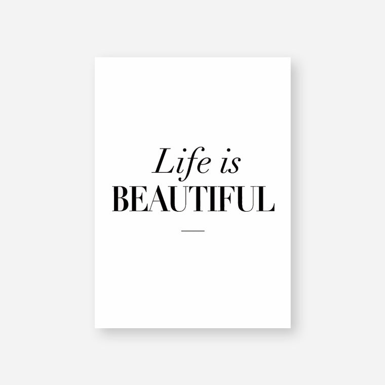 Life Is Beautiful Quote Canvas Print