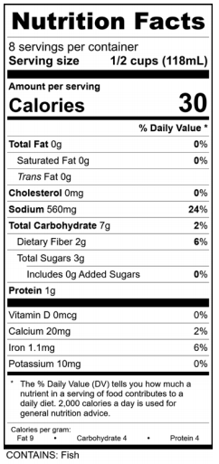 Classic Bloody Mary Mixer Nutrition Facts