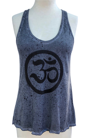 OHM PRINTED 100% COTTON HAND SPLATTERED RACER BACK TUNIC TANK