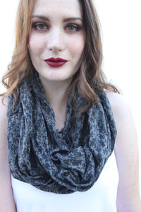 CONTINUUM INFINITY JERSEY KNIT SCARF WITH VINTAGE WALLPAPER ART
