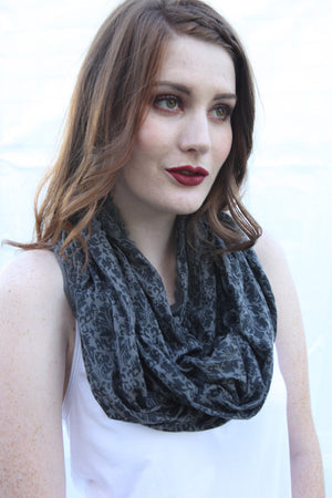 SWEET VIRTUES-Continuum Infinity Jersey Knit Scarf With Vintage Floral Art