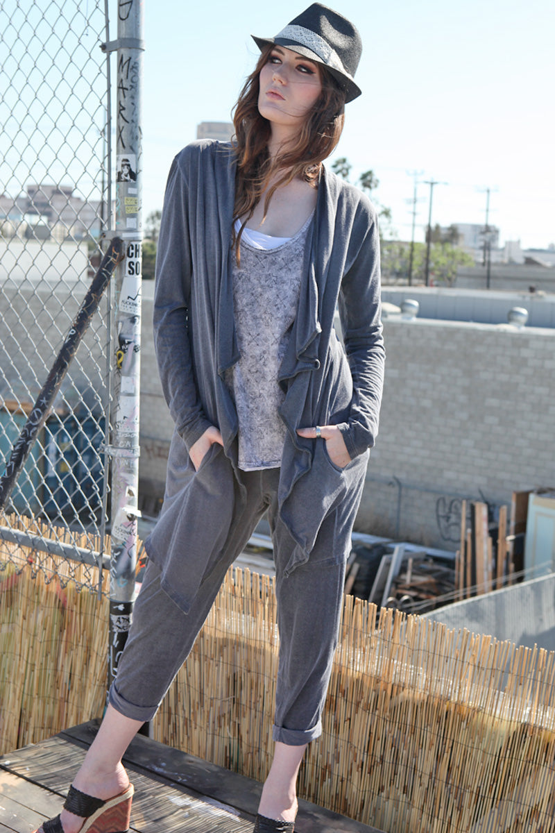 SWEET VIRTUES-Content-Assymetrical Cardigan with Pockets