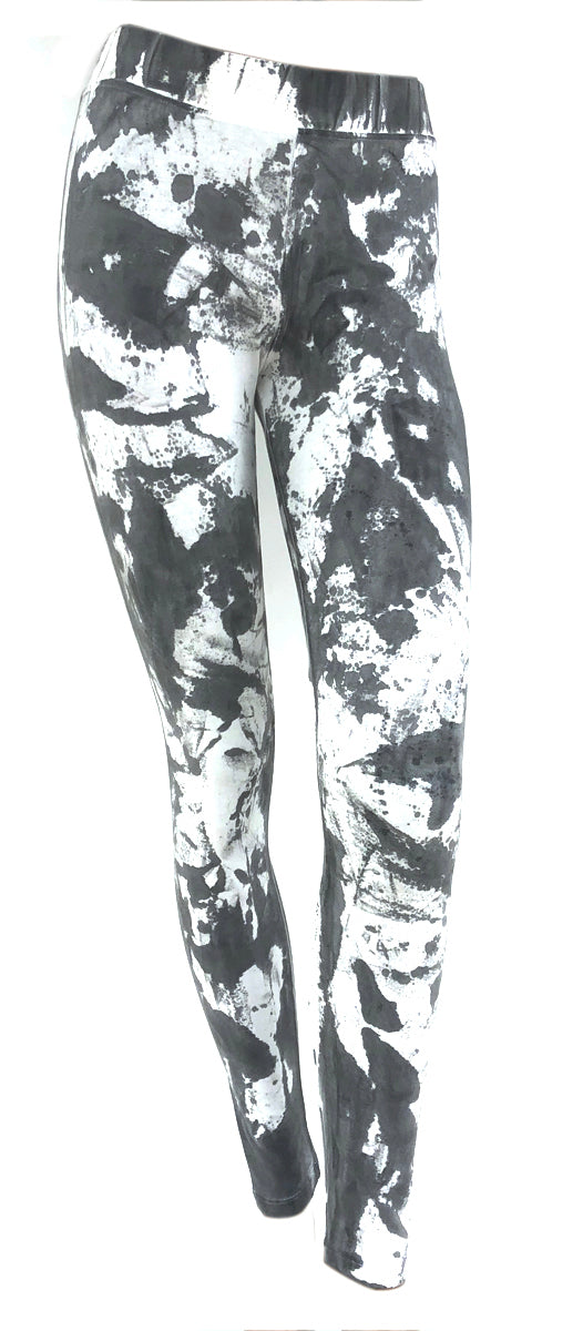 SWEET VIRTUES Women's -Clarity- Leggings Size XS-L Tummy Control in Gray & White Print Pattern