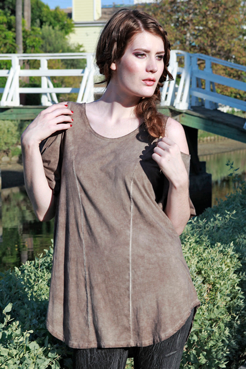 SWEET VIRTUES-Mercy Cotton Modal Bare Shoulder Top