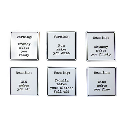 Warning' Cocktail Coasters
