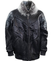 V Gator Leather Bomber