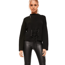 Vintage Womens Lace Up Black Basic Long Sleeve Sweater,, style flaire clothing fashion and gifts