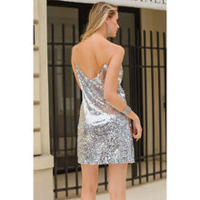 Silver Sequined Backless Off Shoulder Mini Party Dress,, style flaire clothing fashion and gifts