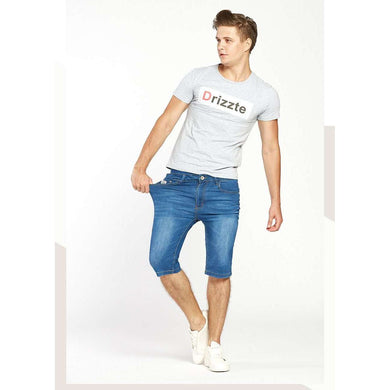 Mens Summer Stretch Lightweight Blue Denim Jean Shorts,, style flaire clothing fashion and gifts