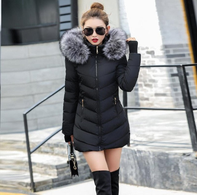 Winter Jacket Womens Coats With Artificial Raccoon Hair Collar